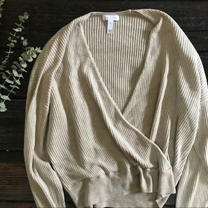 Leith Tan Ribbed Wrap Front Sweater